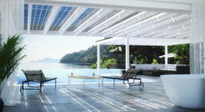3D Visualisierung eines Designpool unter Solarterrassendach
