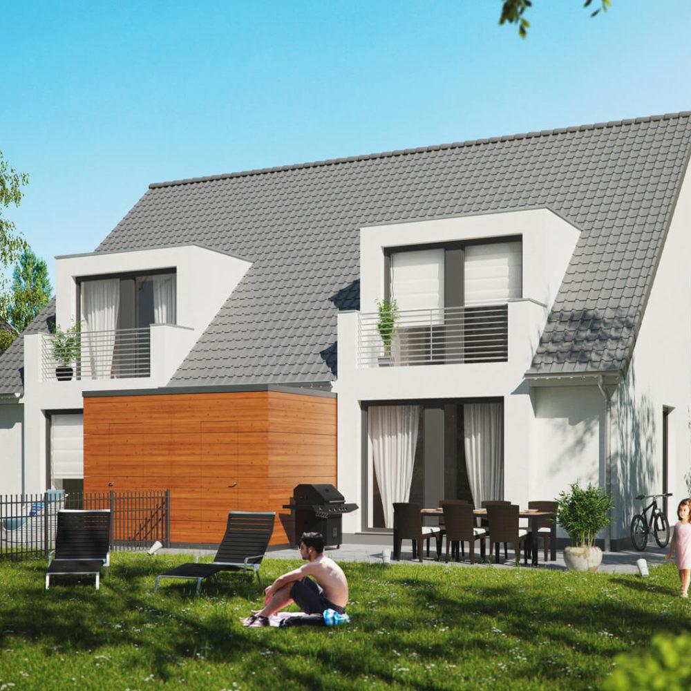 Doppelhaus-modern-garten-satteldach-gartenansicht-3d-visualisierung-architekturvisualisierung-pure3d-bielefeld