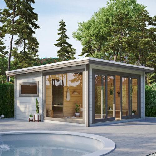 Faron-saunahaus-blockbohlen-luxus-design-beton-wärme-3d-visualisierung-gartenvisualisierung-pure3d-bielefeld