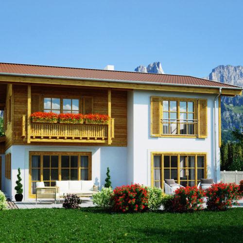 Haus-Miesbach-Terrassenseite-Balkon-Fensterläden-bayern-idylle-landhaus-3d-visualisierung-architekturvisualisierung-pure3d-bielefeld
