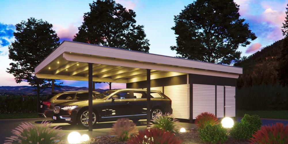Stahlstützencarport-BlaueStunde-carport-luxus-grau-weiss-3d-visualisierung-gartenvisualisierung-pure3d-bielefeld
