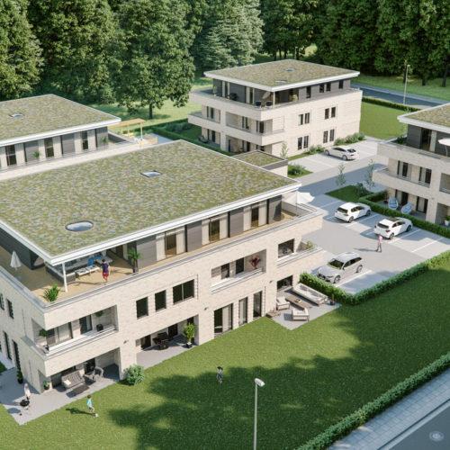 lohne-wohnanlage-luftbild-mehrfamilienhäuser-3d-visualisierung-architekturvisualisierung-pure3d-bielefeld