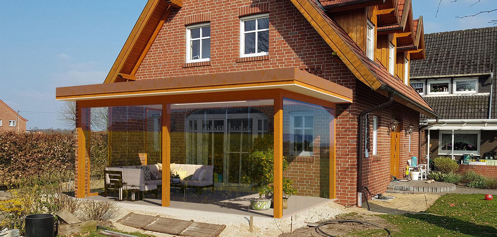 Der Wintergarten wird als CAD-Modell konstruiert und realistisch in das Foto montiert.