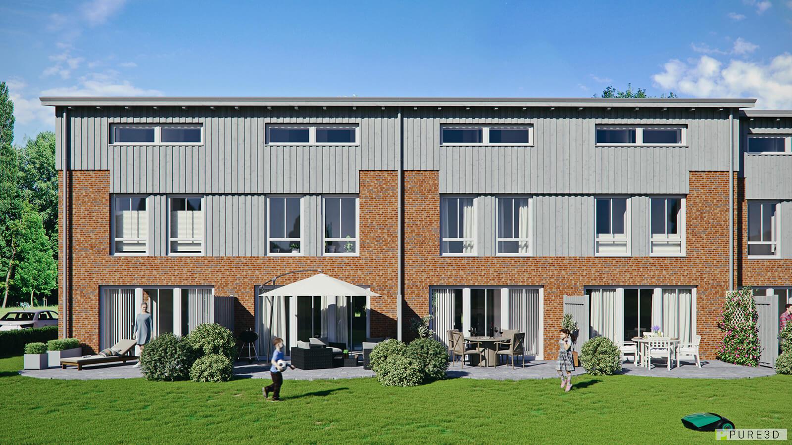 16 Reihenhäuser mit mit ökologischer Fassade