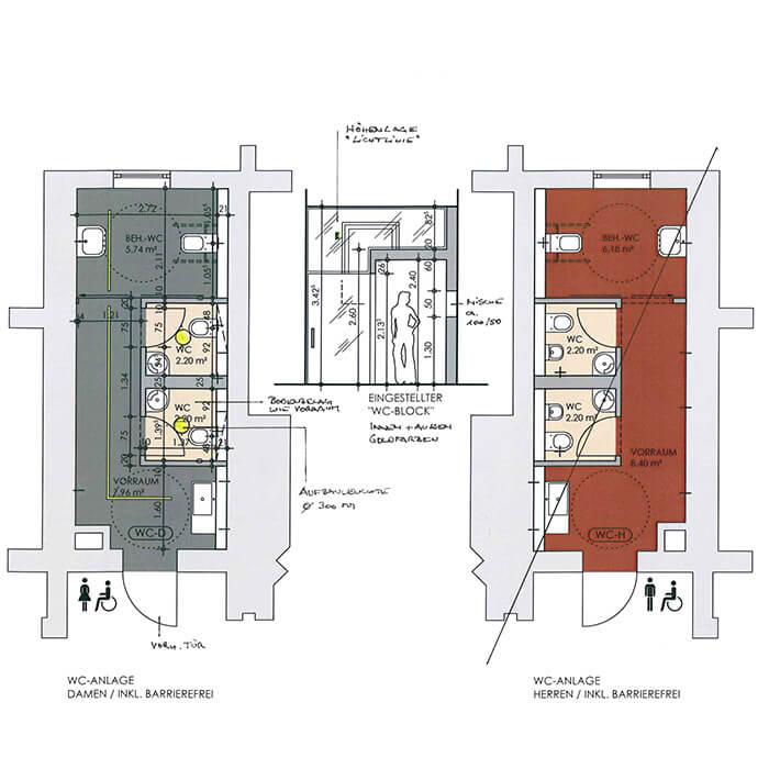 Grundriss der geplanten WC-Anlage im Staatsbad Bad Oeynhausen
